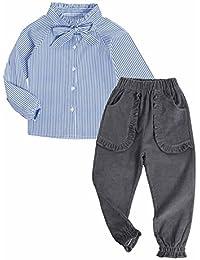 Sanlutoz Vendimia conjunto de niña a rayas camisa + pantalón 2 piezas Moda  ropa 92d4091845c
