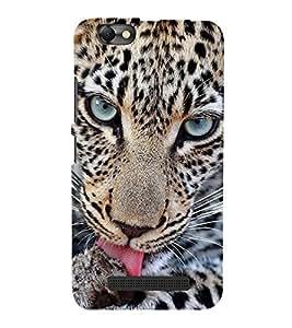 FUSON Leopard Close Up Tongue 3D Hard Polycarbonate Designer Back Case Cover for Lenovo S820
