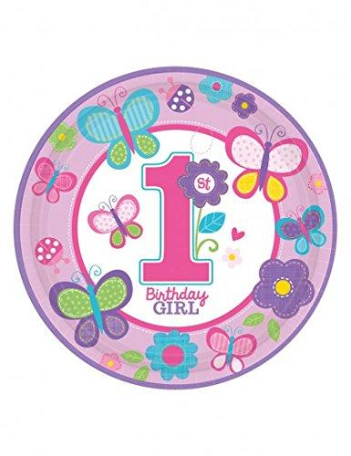 Amscan Pappteller für ersten ersten Geburtstag, Mädchen, niedlich