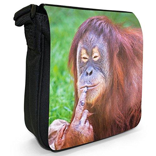 Orangutan Scimmia primati animali piccolo nero Tela Borsa a tracolla, taglia S Female Orangutan