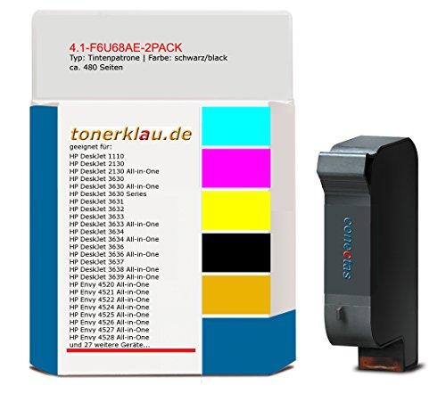 kompatibel Tintenpatrone 4.1-F6U68AE-2PACK für: HP DeskJet 3630 als Ersatz für HP F6U68AE [ 302XL ]