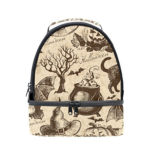 oween schwarze Katze Fledermaus Lunch Bag Isolierte Lunch Box Picknick Tasche Schule Kühltasche für Männer Frauen Kinder ()