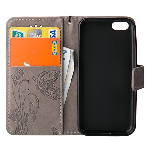 Etsue Apple iPhone 5C Housse,Slim-Fit Folio Smart Case Coque Etui pour Apple iPhone 5C,Papillon Motif PU Leather Coque Stand Flip Housse de Protection pour Apple iPhone 5C + 1x Bleu style + 1x Bling p Gris Fleur de papillon
