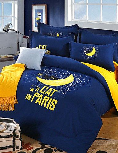 LIANGTT Vier Sätze Bettwäsche,Gute Nacht Katze Bettlaken Kissenbezüge Bettbezug, Queen -