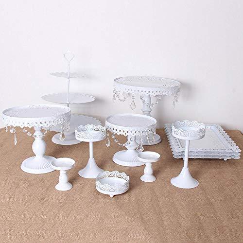 Heresell - espositore per torte a 3 ripiani, in ferro battuto, decorazione da tavolo, 12 pezzi bianco