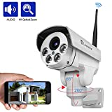 Luowice 1080P Wifi Security Camera 2MP with PTZ 4X Zoom with Audio Night Vision and Built-in 32G SD Card Indoor/Outdoor IP66 Waterproof IP Camera