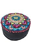Orientalischer runder Pouf aus Baumwolle 50cm inklusive Füllung | Marokkanisches Sitzkissen Sitzpouf Kissen Jivan -2- ø 50cm Rund | Marokkanischer Hocker Sitzhocker Fusshocker bestickt