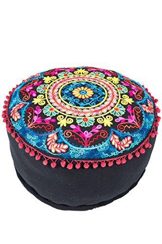 Orientalischer runder Pouf aus Baumwolle 50cm inklusive Füllung | Marokkanisches Sitzkissen Sitzpouf Kissen Jivan ø 50cm Rund | Marokkanischer Hocker