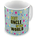 Indigifts Best Uncle In The World Quote Seamless Colorful Star Pattern Grey Coffee Mug 330 Ml - Best Gift For Uncle Birthday, Unique Gift For Uncle-Chacha-Tau-Mama, Mug For Uncle