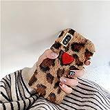 GUYISJK con Tapa Mobile otoño E Invierno Amor Peluche Leopard 6S/X/XS/máx/XR/7Plus Funda Suave 8P teléfono móvil Caso XR 6.1 pollici Leopard Ricamo Rosso Amore soffici