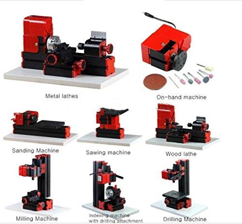 UniqStore mini torno 8 funciones mini máquina multiuso de madera taladro de metal haciendo bricolaje herramienta torno fresado kit