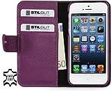 StilGut Leder-Hülle kompatibel mit iPhone 5/5s/iPhone SE Brieftasche mit Karten-Fächer und Druckknopf, Purpur