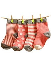FEOYA- Super Weich Babysöckchen Hochwertig Baumwolle Babysocken Süß Kids Socke Kinder 4 Paar Socken Set mit verschiedenen Mustern
