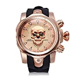 Astarsport Relojes de Hombre Calavera Correa de Silicona Oro Rosa 166001