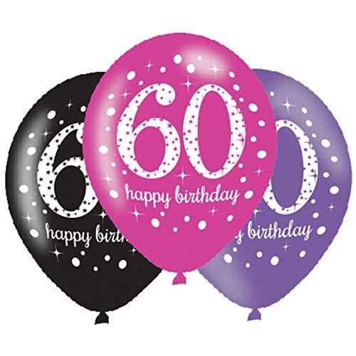amscan 9900879 6 Ballons 60 Celebration, Schwarz, Pink, Lila