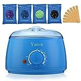 Yansu Haarentfernung Wachswärmer Waxing Kit mit 4 Wachsbohnen 10 Spatel eißwachs Wärmer Harte