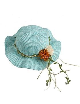 Sombrero De Verano Mujer Sombrero De Protección Solar Decoración De Flores Sombrero De Paja Protección UV Visera...