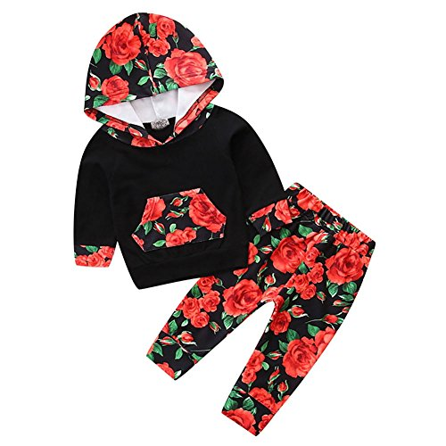 Baywell Babykleidung, Mischfarbe Langram Hoodie Pullover Tops mit Pocket+ Floral Print Hosen Baby Mädchen Kleidung Set (Typ D, M/3~6M/80) -