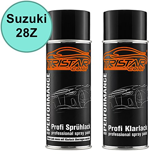 Preisvergleich Produktbild Autolack Spraydosen Set Suzuki 28Z Peppermint Basislack Klarlack Sprühdose 400ml