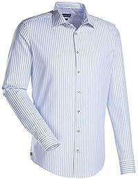 JACQUES BRITT Herren Hemd Slim fit Blue Label Langarm Bügelleicht Streifen Smart Casual Hemd Kent-Kragen Manschette weitenverstellbar