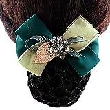 Damen Snood Net Barrette Haarclip Brötchen Cover Handmade Perlen Scheibe Haar, Dunkles Grün, Rough Mesh