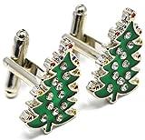 MESE London Weihnachtsbaum Manschettenknöpfe Weihnachten Festliches Hemd Manschetten Knöpfe - Elegante Geschenkbox