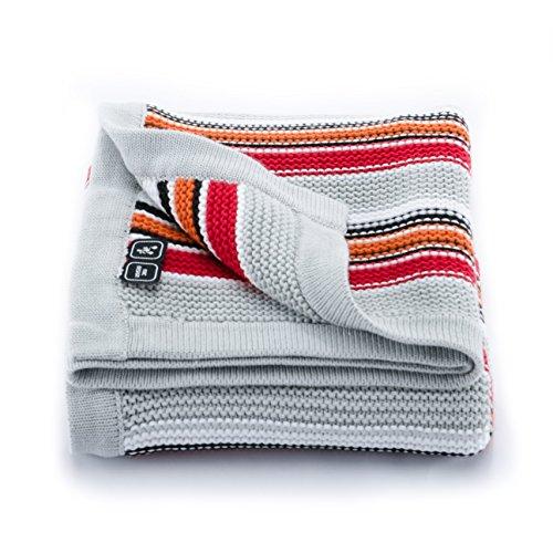 Babydecke / Erstlingsdecke / Kuscheldecke / Strickdecke, 95 x 80 cm, gestreift, 100% Baumwolle, in Rot / Orange / Weiß von ABC Design