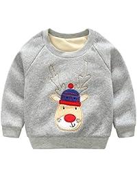 Haotong - Sudadera de Navidad para Niños Niñas Grueso Cálido con Mangas Largas Chandal Infantil para Otoño Invierno Casual Ropa de Casa para Bebés con Cuello Redondo Suave Cómodo