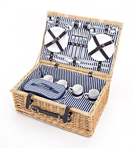 Picknickkoffer mit Kühltasche Für 4 Personen, 25-Teilig - Family Edition - Picknickkorb mit Geschirr, Geflochten aus Weide, Blau-Weiß Gestreift