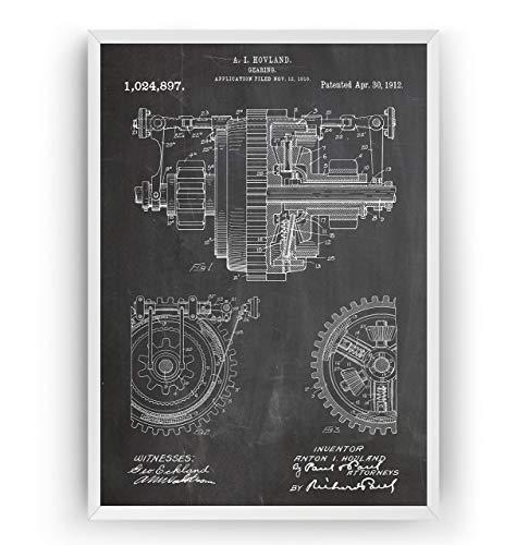 Mechanisches Getriebe 1912 Patent Poster - Mechanical Gearing Giclee Print Art Kunst Wall Dekor Decor Entwurf Wandkunst Blueprint Geschenk Gift - Frame Not Included -