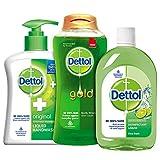 Dettol Bathroom Essentials Kit (Hand Wash Pump - 200 ml, Gold Daily Clean Body Wash - 250 ml, Hygiene Liquid - 200 ml)