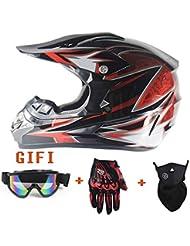 YYCC-helmet Elmetto da Motocross per Adulto, Casco da Motocross Quattro Stagioni, Maschera antiappannante per Guanti da Fuoristrada,L