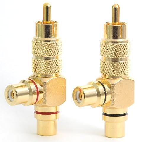 Gold Plated RCA Phono Splitter - 1 Plug 2 Sockets Audio Y Adaptor Right Angle PAIR PHOSPL01