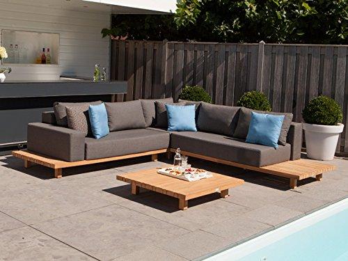 EXOTAN® Lounge Paradiso Gartenlounge Set 12-tlg. Loungegruppe Garten Loungemöbel Lounge Gartenmöbel Terrassenmöbel Loungegarnitur - Exotan - Teak & Stoffbezug Nanotex Grau
