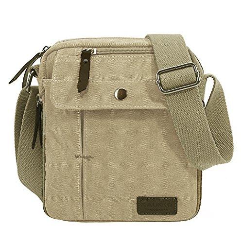 KAUKKO Herren Retro Schultertasche Kleine Canvas Messenger Taschen für Sporttasche Outdoor Freizeit Schule Reisetasche Strandtasche Apricot (49) Aprikose