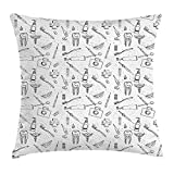 Doodle Throw Pillow Cushion Cover, Hand Drawn Style Medical Pattern with Dental Hygiene Theme Teeth Care Cleaning, Decorative Square Accent Pillow Case, 18 X 18 Inches, Black And White