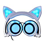 Cat Ohr-Kopfhörer,Sopear Cute Folding Cat Ear Kopfhörer Ohrhörer Headset Glowing Lights mit USB Ladekabel für die meisten Smartphones Tablet-Laptop Blau