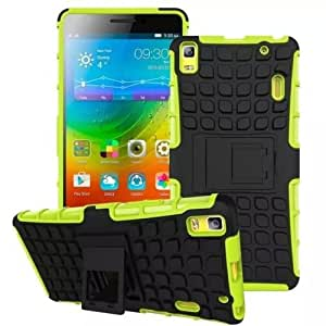 Heartly Flip Kick Stand Spider Hard Dual Rugged Armor Hybrid Bumper Back Case Cover For Lenovo A7000 / Lenovo K3 Note Dual Sim - Great Green