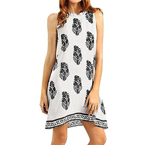 DOLDOA Frauen Sleeveless gedrucktes beiläufiges Strand-Sommer-Minikleid,Schwarz/ Blau/ Weiß (Größe: 46 Fehlschlag: 104cm / 40.9