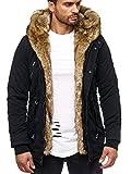 Husaria Designer Jacke Winterjacke mit Kapuze und stylischem Fell Winter Camouflage Parka 1004 1