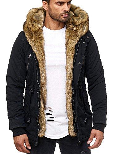 Husaria Designer Jacke Winterjacke mit Kapuze und stylischem Fell Winter Camouflage Parka 1004