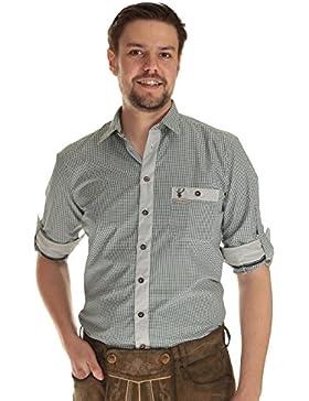 Spieth & Wensky Herren Hemd langarm Trachtenhemd kariert mit Krempelarm und Hirschstickerei