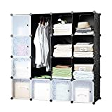 icase4u DIY Wardrobe Closet Cabinet Interlocking Cube Storage Organizer,Storage System with Doors,Strong Construction for Clothes, Shoes, Accessories (16Cube)