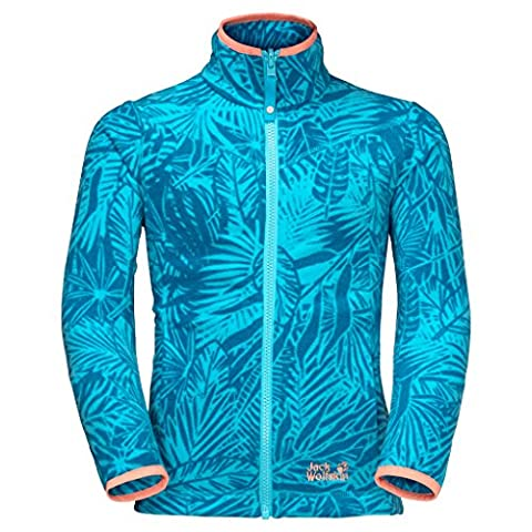 Jack Wolfskin Jungle Fleece Girls leichte Fleecejacke Mädchen (140, Lake Blue All Over)