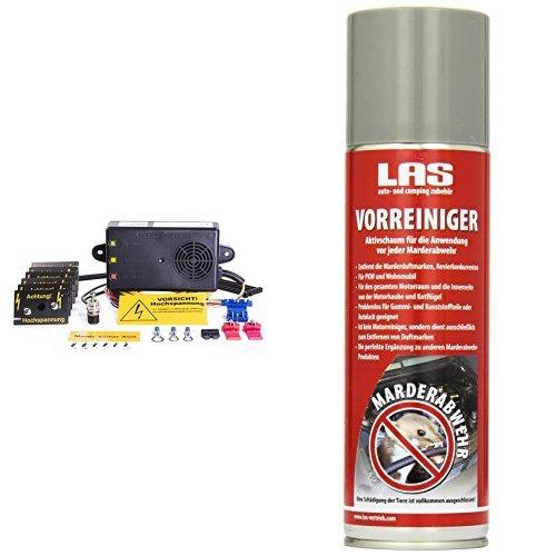 Preisvergleich Produktbild Mardersicher Mobil MS12V (Marderschreck mit Ultraschall+Hochspannung) and LAS 16265 Vorbehandlungsspray Marder Duftmarken-Entferner