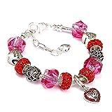 YIYIYYA Bracelets Femmes Bricolage Maman Coeur Charms Bracelet avec Perles De Verre Cristal Chaîne Serpent Fit Cadeau Étudiant Doux,comme Indiqué,18Cm