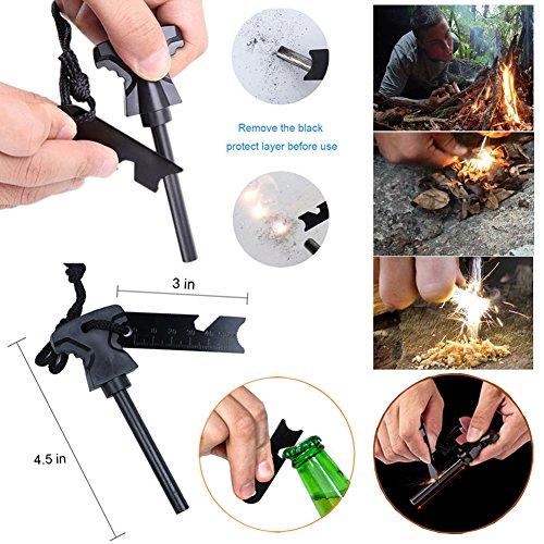 Outdoor Survival Kit 11 in 1, Emergency Survival Gear Tool mit Messer, Kompass, Notfall Decke, Feuer Starter, Taschenlampe, Whistle, Tactical Pen etc für Camping, Wandern, Klettern, Ausflüge - 6