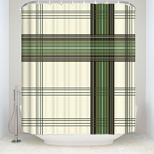 HomeCreator Extra Lang Stoff Bad Dusche Vorhänge Vintage Grün und Creme Lattice Grid Geometrische schimmelt Nicht Badezimmer Decor-Sets mit Haken 72