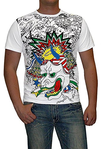 S&LU super modernes Herren T-Shirt mit absolut angesagtem Print Gr.: S-XXL Weiß