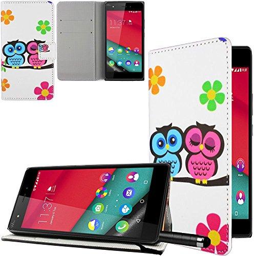 Ownstyle4you - Custodia Premium per cellulare per il WIKO PULP 4G in Eco Pelle Portafoglio (Owl Clip Di Carta)